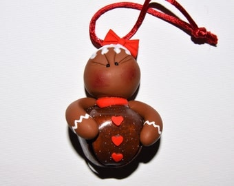 Gingerbread Girl Jingle Bell Polymer Clay Christmas Ornament