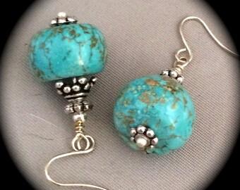 Turquoise, Magnesite, earrings, dangle, pierced, non-pierced,