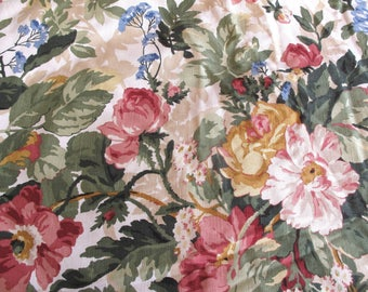 "Vintage P Kaufmann Fabric 6 Yards 54"" Wide Pink Roses Floral Flowers Shabby Cottage One Piece Never Used Great Condition"