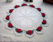 Romantic Red Rose Crochet Lace Thread Art Doily New Handmade