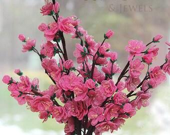 KIT - French beaded flowers cherry blossoms kit - beginner