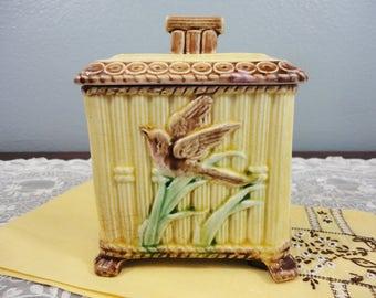 Antique Majolica Sugar with Lid - Bamboo & Bird Design