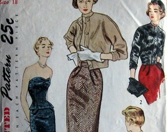 Vintage 1950s Womens Strapless Halter Top Pattern With Skirt Hat Sweater Blouse And Jacket Evening And Day Wear Simplicity 3027 Sz 18