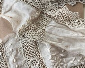 Salvaged edwardian vintage embroidered and lace fabric