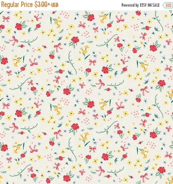 "ON SALE Penny Rose Fabrics ""Bunnies and Cream"" Cream Roses"