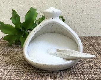 Ceramic Salt Pig with Handcrafted Spoon - Handmade Ceramic Salt Cellar - Stoneware Salt Dish - White Salt Container
