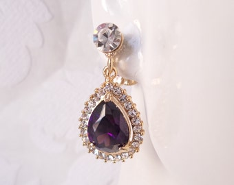 Purple on Gold Plated Pierced or ClipOn Earrings with Swarovski Crystal Bridal Jewelry Bridesmaid Gifts Wedding Chandelier Prom Clip Ons