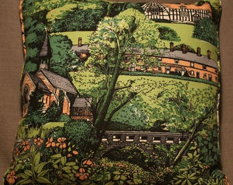 """15"""" cushion cover Country Village Scene"""