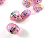 38 Dark Pink Glass Drawbench Oval Beads 11x8mm with Blue and Gold Striations - 15 inch - G6013-DP38