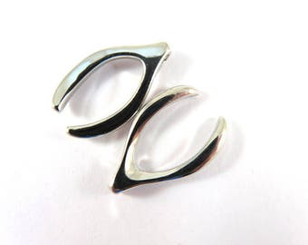 2 Wishbone Charms Silver Plated Copper Pendant Drops 2mm hole 23x15mm - 2 pc - 6513