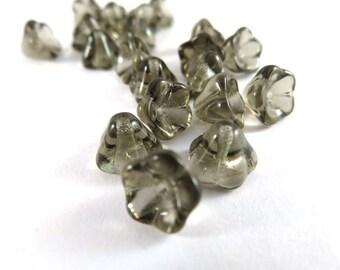 20 Czech Glass Black Diamond Transparent Light Gray Smoke Bell Flower Beads 8x5mm - 20 pc - 6531