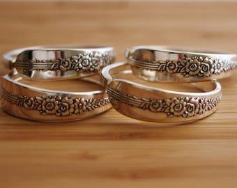 Napkin Rings Recycled Silverware Oneida Nobility Royal Rose Spoon Napkin Rings Rustic Table Decor Elegant Set of Four by Hendywood