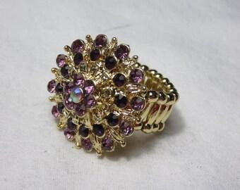 Vintage 1960 Stretch Ring Dark Purple and Light Purple Rhinestones Aurora Borealis Flower Design Statement Ring