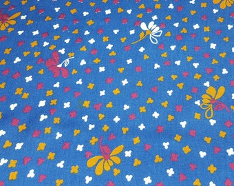 SALE vintage 70s rayon fabric featuring cute floral print, 1 yard, 22 inches, 2 pieces available, priced PER PIECE