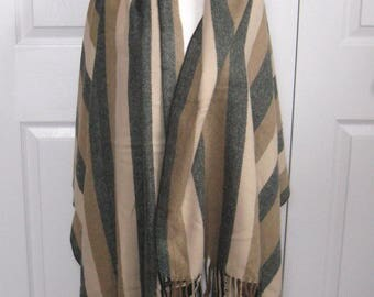cashmere shawl . striped cashmere shawl . shawl .  made in Scotland
