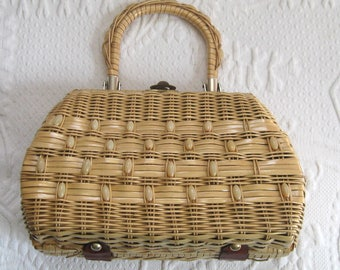 basket purse . 50s basket purse . basket box purse . beaded basket purse . straw purse
