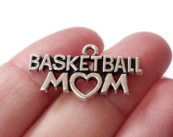 "4, ""Basketball Mom"" Heart Charms 28x15mm ITEM:AW56"