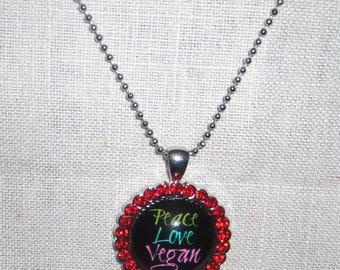 Vegan worded necklace, peace, love vegan necklace, crystal pendant