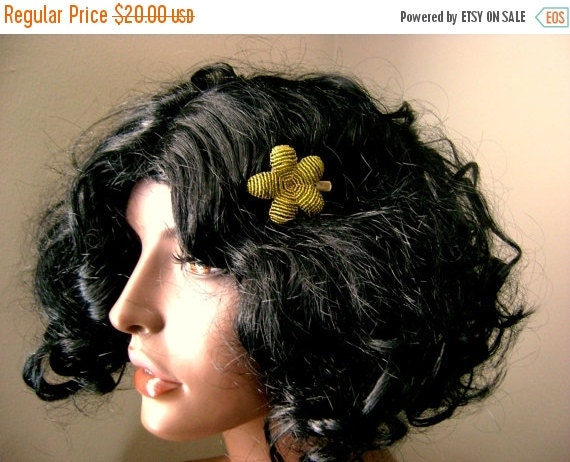 INVENTORY CLEARANCE Flower Hair Clip Brooch Green Olive - Ododo Originals