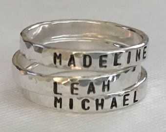 Child's Name Ring -  Mother's Ring - Stamped Sterling Silver Ring - Mother's Jewelry- Hammered Sterling Silver Name Ring- stacking ring
