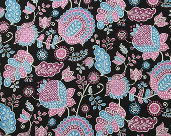 4292 - Retro Floral Cotton Fabric - 59 Inch (Width) x 1/2 Yard (Length)