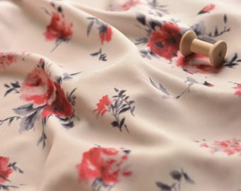 4523 - Rose Floral Chiffon Fabric - 59 Inch (Width) x 1 Yard (Length)