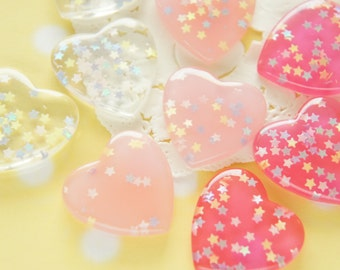 9 pcs Clear Star Sprinkles Heart Cabochon (27mm) New colors IK124