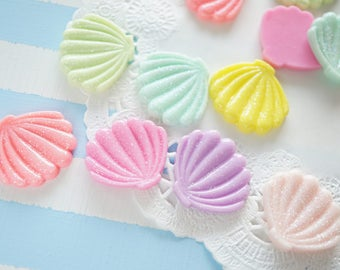 7 pcs Glitter Pastel Shell Cabochon (21mm24mm) New Color Solid DR578