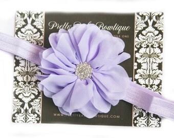Lavender Newborn Baby Headband - Infant  LavenderFlower Bow Headband -  Toddler Headband - Girl Headband - Photography Prop