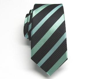 Mens Ties Skinny Tie. Black Green Stripes Skinny Necktie