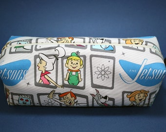 Boxy Makeup Bag- The Jetsons Print - Pencil Pouch - George, Jane, Judy, Elroy, Rosie and Astro