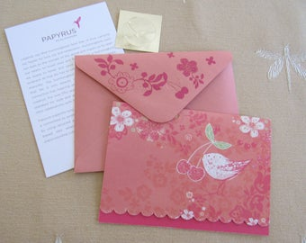 Springtime Fresh Vtg Papyrus Sparkly BIRD Note Card & Envelope Blank Inside Thank you Correspondence Flowers Cherries Gift Enclosure