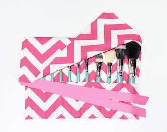 Makeup Brush Roll Holder Organizer, Chevron, Hot Pink/White - In Stock Ready to Ship