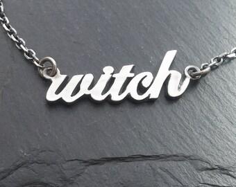 WITCH necklace cursive