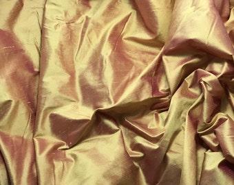 Gold Hot Pink Silk DUPIONI Fabric - fat 1/4