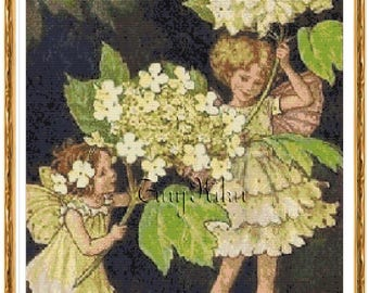 The GUELDER ROSE Fairies, Cicely Mary Barker Counted Cross Stitch Pattern.  Instant Digital Download, PDF Colored Blocks