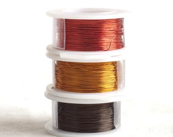 Earth colors , Copper wire  28 Gauge - 3 spools metal wire brown red and Antique gold