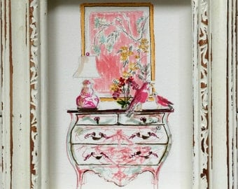 Sketch Art, Bombay Chest of Drawers, Chinoiserie, Birds, Orchids, ORIGINAL ART, Pink Floral, Pink Dragon Lamp, Interior Art