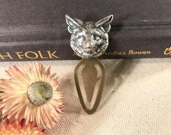 Fox Bookmark Metal Bookmark Silver Fox Head Fox Lover Woodland Animal Antique Brass Forest Animal Book Lover Gift Stocking Stuffer Gift