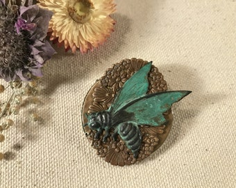OOAK Wasp Brooch, Wasp Pin, Verdigris Insect, Steampunk Bug Pin, Insect Brooch, Woodland Bug, Floral Bug Pin, One of A Kind Brooch, Unique