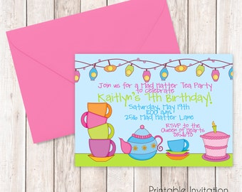 Mad hatter tea party invitations Etsy