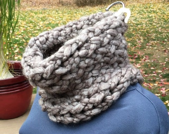 Infinity Scarf - Chunky Knit Cowl - Taupe color - loom knitted