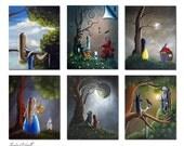SALE - Signed Art Prints - Set of 6 - Alice In Wonderland Prints - Fairytale - 8x10 - Home Decor - Office Decor Ideas - Cinderella