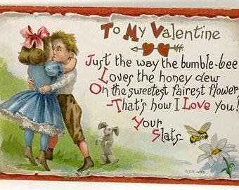 Vintage To My Valentine Postcard - Boy And Girl Kiss - Bumble Bee - Puppy - 1909