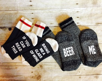 His and Her Beer and Wine Socks  If you can read this bring me a glass of wine charcoal grey wool socks Beer Me mens version