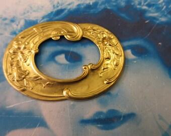 Raw Brass Oval Floral Ornate Frame 522RAW  x1
