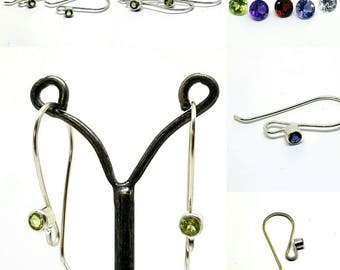 Handmade Sterling Silver Gemstone Ear Wires Amethyst Peridot Garnet Citrine Iolite gem stone earwires hooks 22g artisan