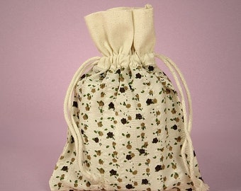 Halloween Stock Up Sale 6 Pack Drawstring 4.75 X 5.95 Inch Natural Muslin Bags with Country Floral Brown Color Print