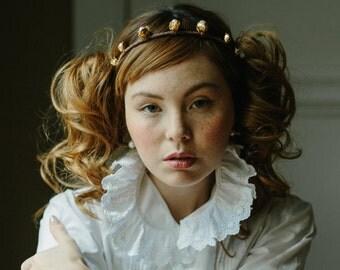 Wedding headband, bridal tiara, pearl headpiece, hair jewelry - Rose Bud no. 2173