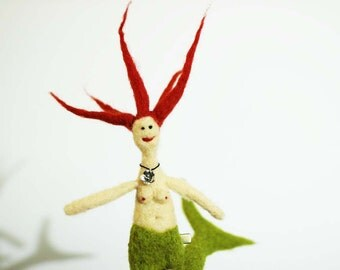 Mermaid Doll Needle Felted Redhead Spike Hair